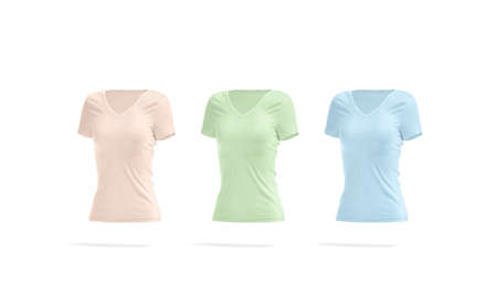 Blank colored women slimfit t-shirt mockup, side view