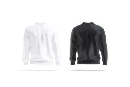 Blank black and white bomber jacket mockup, back view
