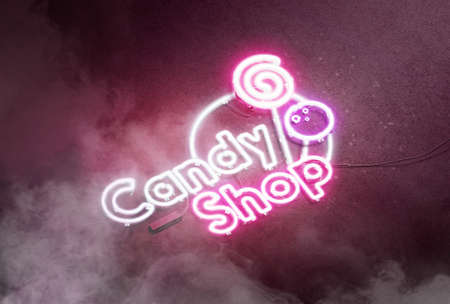 Neon candy shop sign dark concrete wall, glow font mockup