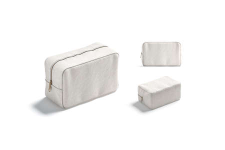 Blank canvas cosmetic bag mockup, different views