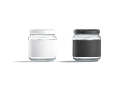Blank small glass jar with black and white label mockup