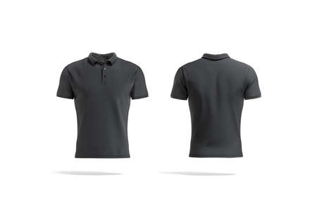 Blank black polo shirt mock up, front and back view
