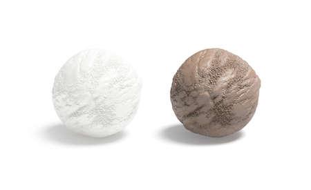 Blank vanilla and chocolate ice cream ball mockup, isolated