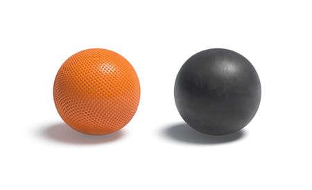 Blank orange and black rubber basketball ball mockup set