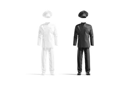 Blank black and white chef uniform mockup set, front view