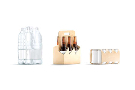 Blank transparent and craft holder pack for bottle, can mockup