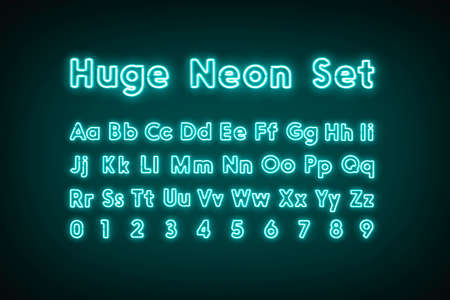 Turquoise neon capital alphabet letters and numbers, glow font set 免版税图像