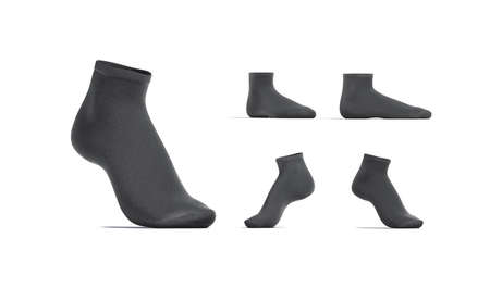Blank black ancle socks mockup stand, different views