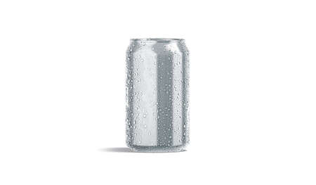 Blank silver aluminum 330 ml soda can with drops mockup,