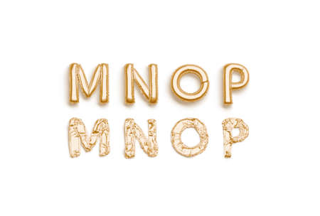 Inflated, deflated gold M N O P letters, balloon font Stock Photo