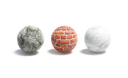 Blank stone, brick, marble ball mockup set