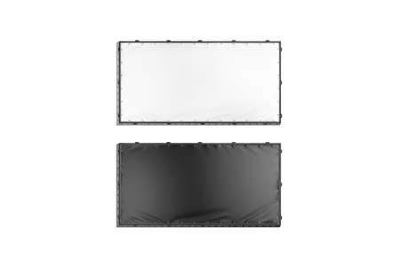 Blank black and white rectangle stretching banner grip frame mockup,