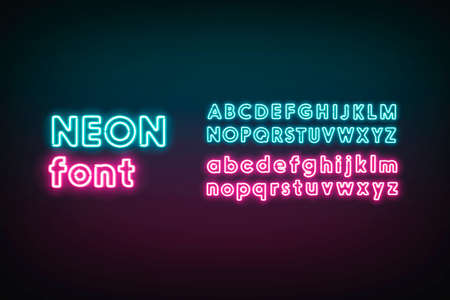 Turquoise and pink neon capital and lower letters, glowing font