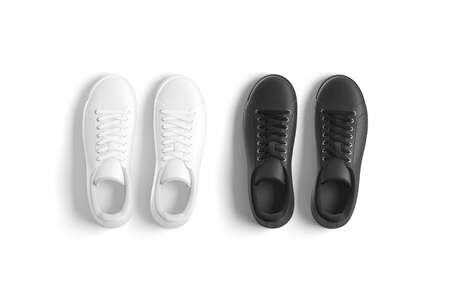 Blank black and white leather sneakers with lace mockup, isolated