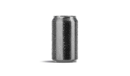 Blank black aluminum 330 ml soda can with drops mockup,