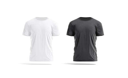 Blank black and white wrinkled t-shirt mockup set, front view