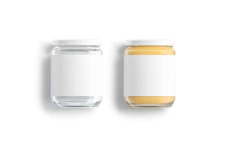 Blank glass jar with white label and peanut butter mockup