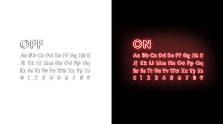 Turn on and off neon alphabet letters and numbers font