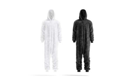 Blank black and white plush jumpsuit mock up, front view