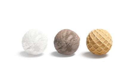 Blank vanilla, chocolate and waffle ice cream ball mockup, isolated