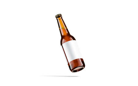 Blank brown glass beer bottle white label mockup, no gravity