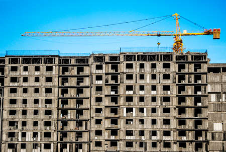 beton: Building under construction, construction site, urban, multistory, high-rise building Stock Photo