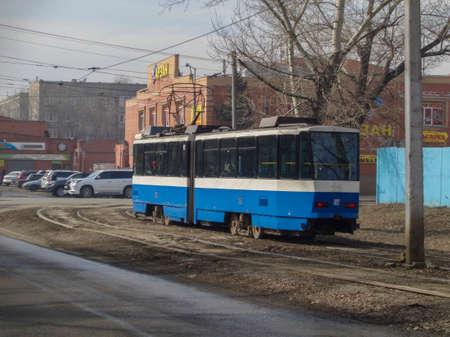 Kazakhstan, Ust-Kamenogorsk, March 29, 2019: Tram in the city. Ust-Kamenogorsk tram 報道画像