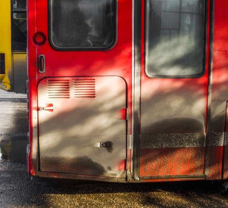 Fragment of the buses. Bus background. Urban transport. Passenger transportation