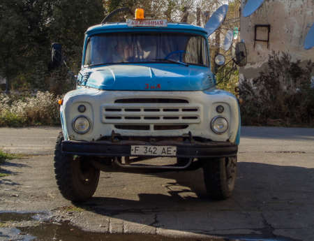 Kazakhstan, Ust-Kamenogorsk, october 4, 2019: Old soviet truck ZIL 130