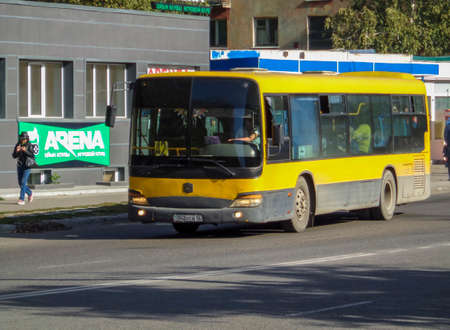 Kazakhstan, Ust-Kamenogorsk, October 4, 2019: Chinese bus Zhong Tong. Yellow city bus