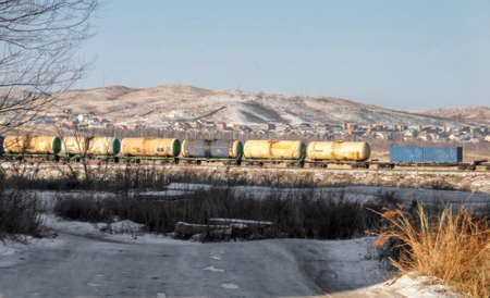 Railway tank cars. Freight train. The train tanks with oil and fuel