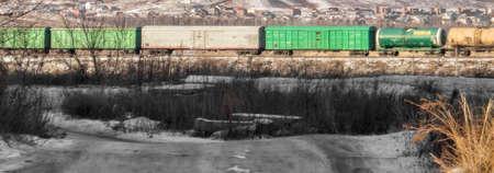 Freight cars. Freight train. Rail transportation