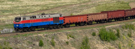 Freight train - Cargo transportation. Cargo railroad industry. Locomotive
