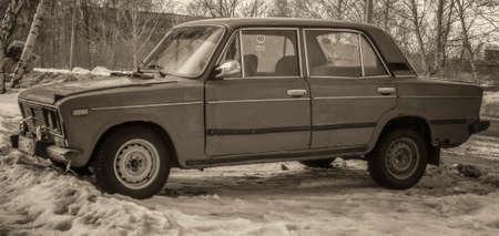 Kazakhstan, Ust-Kamenogorsk, march 9, 2018: Old car. Lada 1600 (VAZ 2106). Vintage style. Retro effect