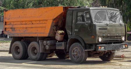 Kazakhstan, Ust-Kamenogorsk, august 13, 2017: Kamaz 5511. Old soviet truck. Old dumper