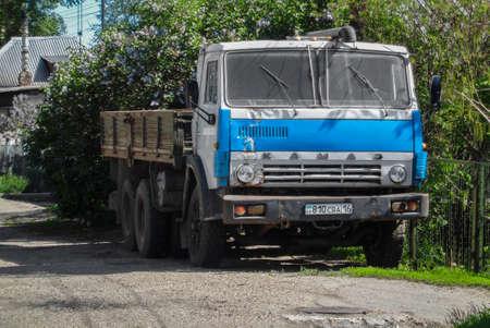 Kazakhstan, Ust-Kamenogorsk, june 1, 2018: Blue Kamaz 5320. Old soviet truck