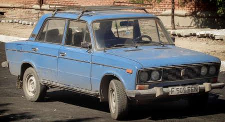 Kazakhstan, Ust-Kamenogorsk, august 8, 2018: VAZ 2106. Zhiguli classic soviet car. Blue zhiguli