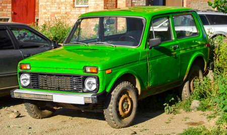 Kazakhstan, Ust-Kamenogorsk, 24 july 2017: Lada 2121 (Lada Niva). Old soviet SUV. Green car