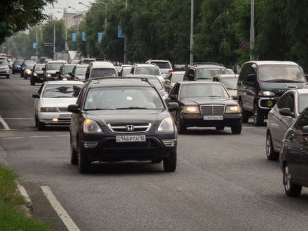 Kazakhstan, Ust-Kamenogorsk, july 2018: Traffic on one of the streets of the city 報道画像