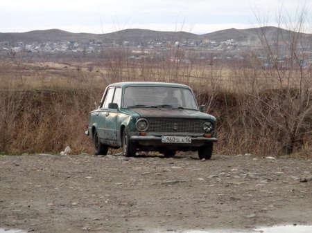 Kazakhstan, Ust-Kamenogorsk, april 19, 2018: Old soviet car Lada 2101. Vaz 2101, zhiguli. Old rusty car
