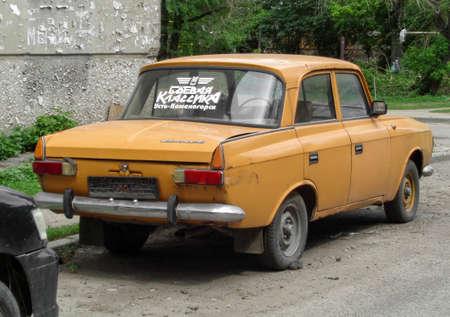 Kazakhstan, Ust-Kamenogorsk, june 2, 2018: Yellow Moskvitch 412. Old soviet car 報道画像