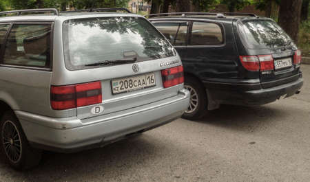 Kazakhstan, Ust-kamenogorsk, july 16, 2018: Volkswagen Passat and Toyota Carina E. Two old cars