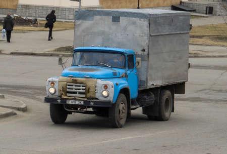Kazakhstan, Ust-Kamenogorsk, april 18, 2018: Old soviet truck ZIL 130 in the city street 報道画像