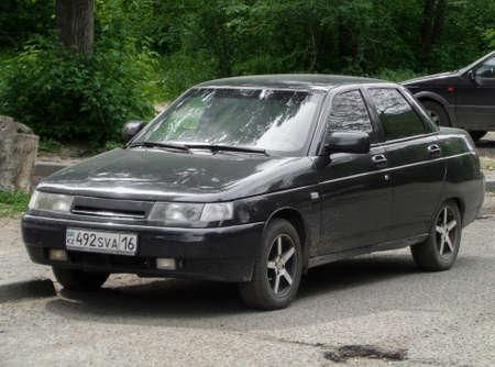Kazakhstan, Ust-kamenogorsk, june 2, 2018: Lada 110. Black russian car