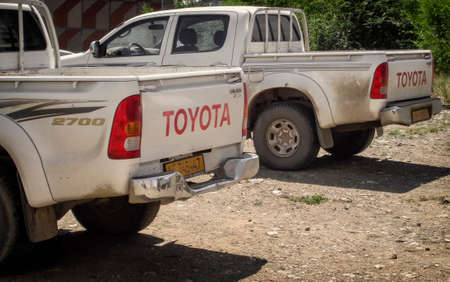 Kazakhstan, Ust-Kamenogorsk, july 8, 2018: Toyota Hilux is a series of light commercial vehicles produced and marketed by the Japanese manufacturer Toyota. Two pickups