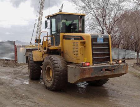 Kazakhstan, Ust-Kamenogorsk, april 10, 2018: Chinese wheel loader