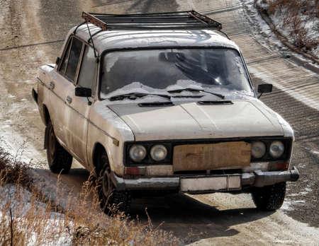 Kazakhstan, Ust-Kamenogorsk, january 28, 2018: Old soviet car Lada 1600. Vaz 2106. Old sedan