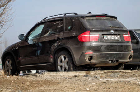 Kazakhstan, Ust-Kamenogorsk, february 2, 2018: BMW X5 E70. Black german car