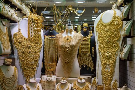Dubai Gold Market, showcase with jewelry and yellow gold items