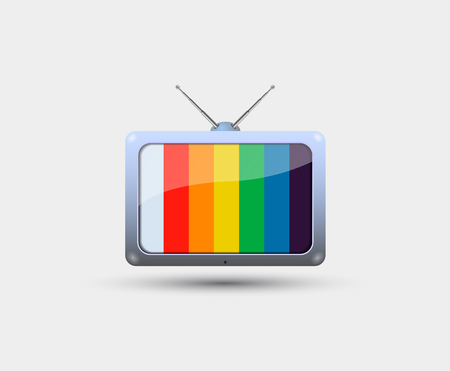 tv screen: TV icon with colorful stripes on the screen Illustration
